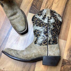 ARIAT Legend Leopard Print Leather Western Boot 7B